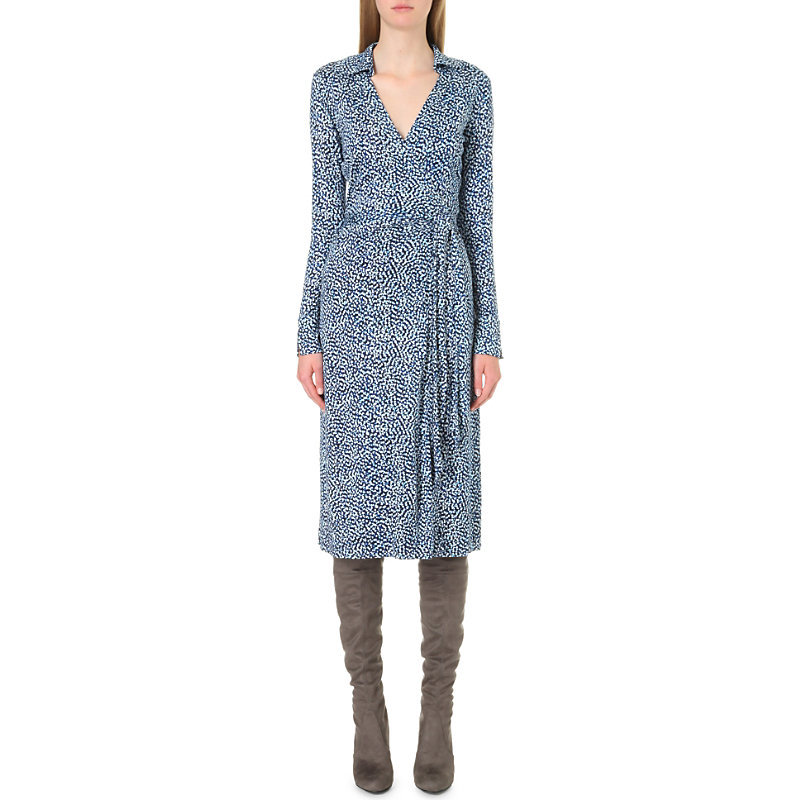 Cybil Silk Jersey Wrap Dress, Women's, Beads Peacock - style: faux wrap/wrap; length: calf length; neckline: shirt collar/peter pan/zip with opening; waist detail: belted waist/tie at waist/drawstring; predominant colour: denim; occasions: casual, work, creative work; fit: body skimming; fibres: silk - 100%; sleeve length: long sleeve; sleeve style: standard; pattern type: fabric; pattern: florals; texture group: jersey - stretchy/drapey; season: a/w 2016; wardrobe: highlight