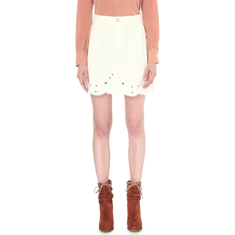Embroidered High Rise Stretch Denim Skirt, Women's, Natural White - length: mid thigh; pattern: plain; style: straight; waist: high rise; predominant colour: white; occasions: casual; fibres: cotton - stretch; texture group: denim; fit: straight cut; pattern type: fabric; wardrobe: basic; season: a/w 2016