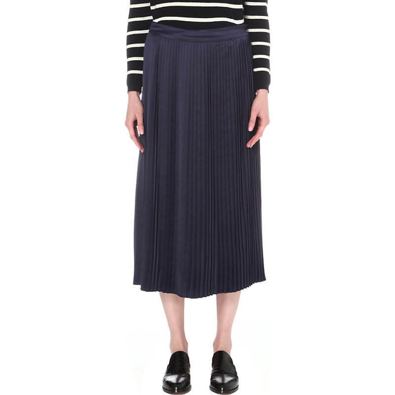 Lucy Stretch Satin Skirt, Women's, Blue - length: calf length; pattern: plain; fit: body skimming; waist: mid/regular rise; predominant colour: navy; occasions: casual; style: maxi skirt; fibres: polyester/polyamide - 100%; texture group: sheer fabrics/chiffon/organza etc.; pattern type: fabric; wardrobe: basic; season: a/w 2016