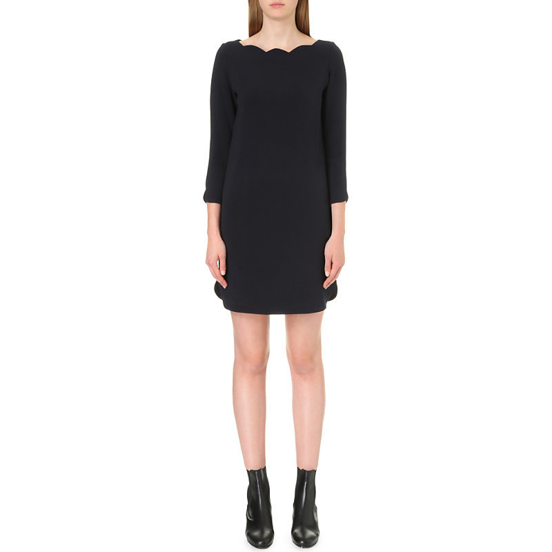 Rover Bis Woven Dress, Women's, Dark Blue/Gold - style: shift; pattern: plain; predominant colour: black; occasions: evening; length: just above the knee; fit: body skimming; fibres: polyester/polyamide - mix; neckline: crew; sleeve length: 3/4 length; sleeve style: standard; texture group: crepes; pattern type: fabric; season: a/w 2016; wardrobe: event