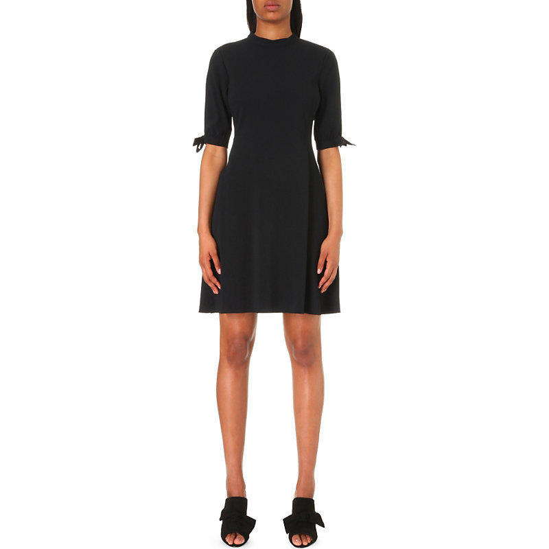 Alvilla Crepe Dress, Women's, Black - length: mid thigh; pattern: plain; waist detail: fitted waist; predominant colour: black; occasions: evening, creative work; fit: fitted at waist & bust; style: fit & flare; fibres: polyester/polyamide - 100%; neckline: crew; sleeve length: 3/4 length; sleeve style: standard; texture group: crepes; pattern type: fabric; wardrobe: investment; season: a/w 2016