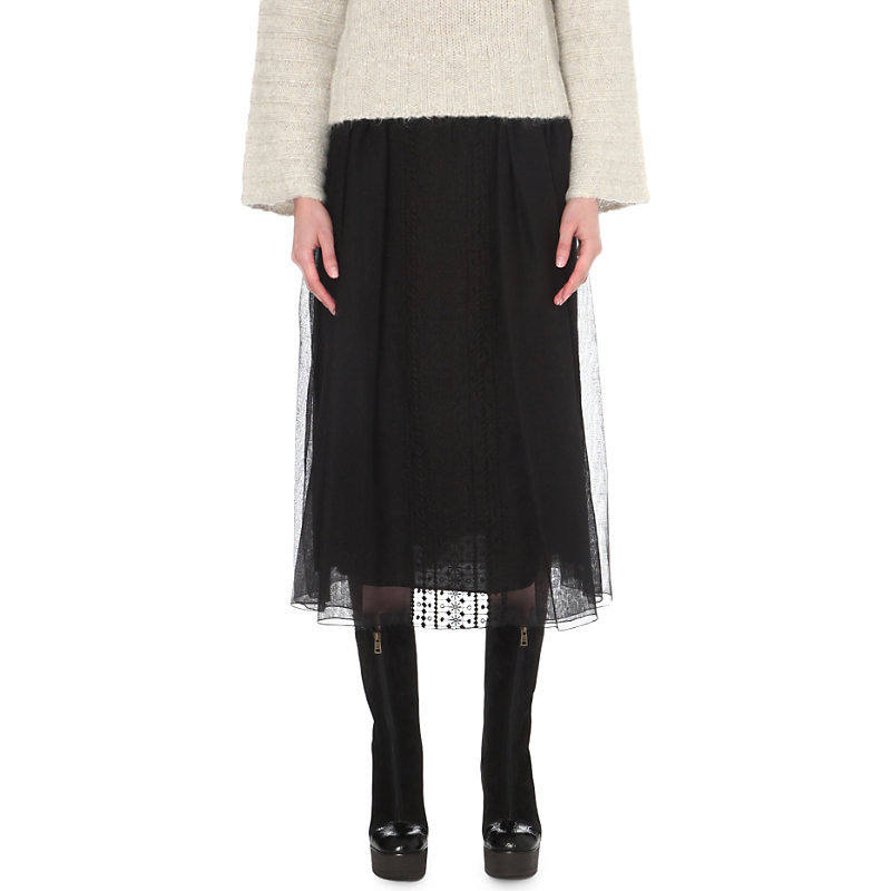 Embroidered Cotton Blend Skirt, Women's, Black - length: calf length; pattern: plain; fit: body skimming; style: pleated; waist: mid/regular rise; predominant colour: black; occasions: casual; fibres: cotton - mix; texture group: sheer fabrics/chiffon/organza etc.; pattern type: fabric; wardrobe: basic; season: a/w 2016