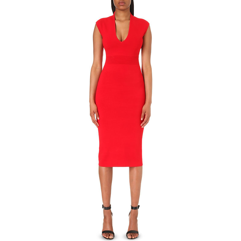 V Neck Stretch Knit Bodycon Dress, Women's, Size: Xs, Red Blaze - length: below the knee; neckline: v-neck; fit: tight; pattern: plain; sleeve style: sleeveless; style: bodycon; predominant colour: true red; occasions: evening; fibres: viscose/rayon - stretch; sleeve length: sleeveless; texture group: jersey - clingy; pattern type: fabric; season: a/w 2016; wardrobe: event