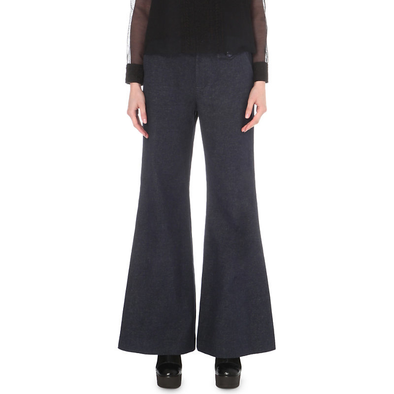 Flared High Rise Jeans, Women's, Royal Blue - length: standard; pattern: plain; waist: mid/regular rise; style: wide leg; predominant colour: navy; occasions: casual; fibres: cotton - 100%; texture group: denim; pattern type: fabric; wardrobe: basic; season: a/w 2016
