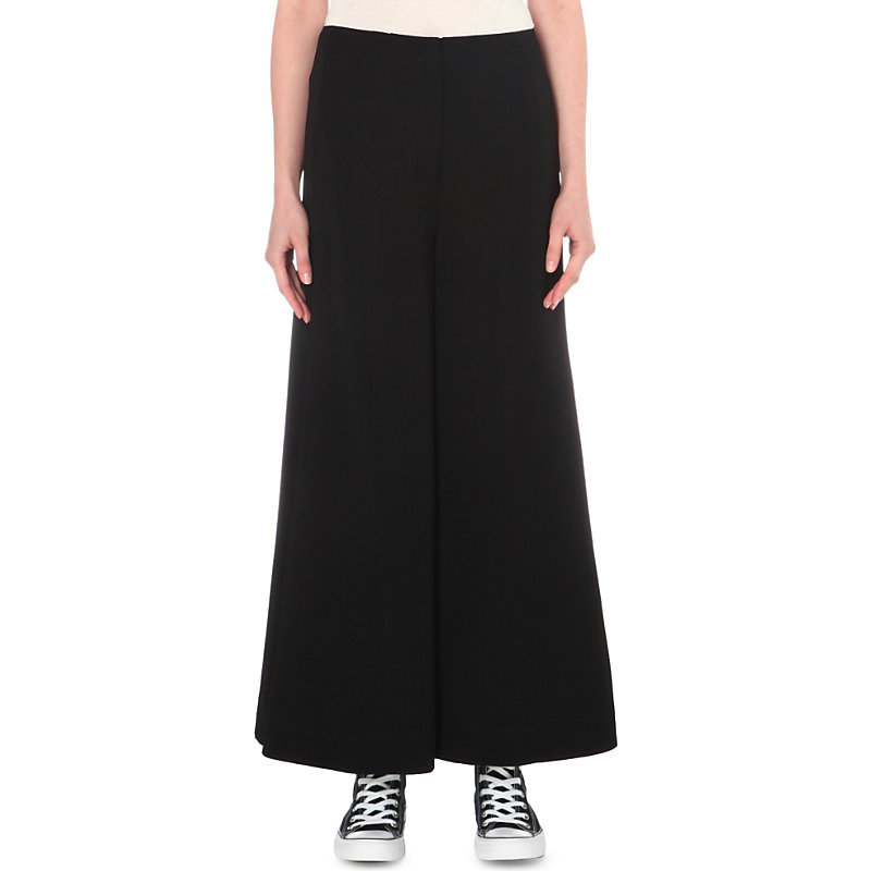 Delany Woven Trousers, Women's, Black - length: standard; pattern: plain; style: palazzo; waist: mid/regular rise; predominant colour: black; occasions: casual, creative work; fibres: polyester/polyamide - 100%; fit: wide leg; pattern type: fabric; texture group: jersey - stretchy/drapey; wardrobe: basic; season: a/w 2016