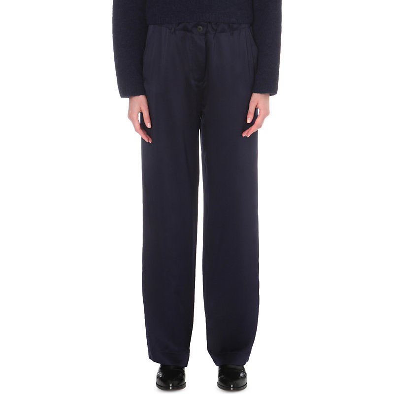 Gavin Silk Trousers, Women's, Blue - length: standard; pattern: plain; style: palazzo; waist: mid/regular rise; predominant colour: navy; occasions: casual, evening, creative work; fibres: silk - 100%; texture group: silky - light; fit: wide leg; pattern type: fabric; season: a/w 2016