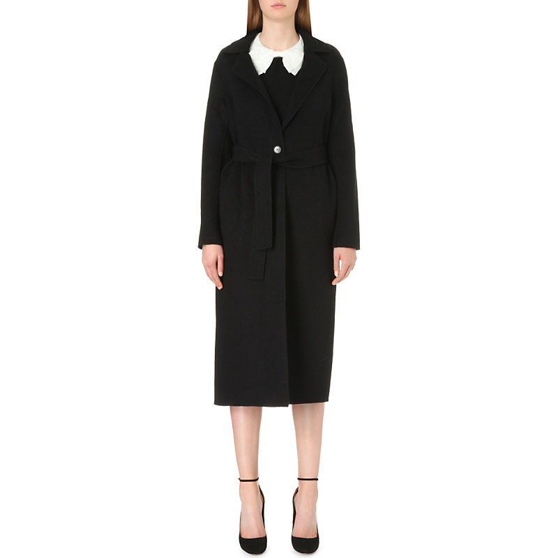 Gracie Wool Coat, Women's, Noir - pattern: plain; style: single breasted; fit: slim fit; collar: standard lapel/rever collar; length: calf length; predominant colour: black; occasions: casual; fibres: wool - 100%; waist detail: belted waist/tie at waist/drawstring; sleeve length: long sleeve; sleeve style: standard; collar break: medium; pattern type: fabric; texture group: woven bulky/heavy; wardrobe: basic; season: a/w 2016