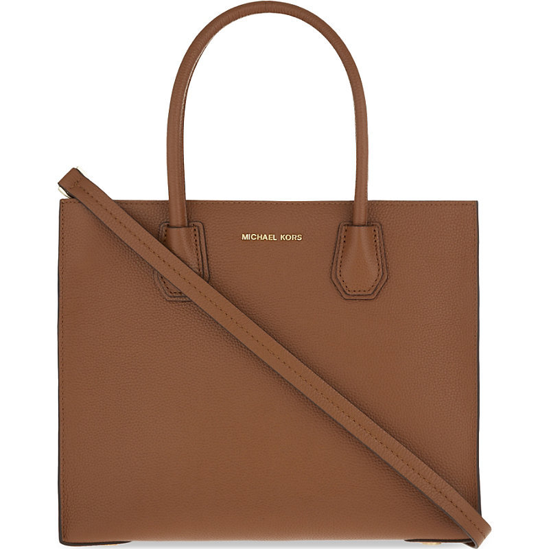 Mercer Large Leather Tote, Women's, Luggage - predominant colour: tan; occasions: work, creative work; type of pattern: standard; style: tote; length: handle; size: standard; material: leather; pattern: plain; finish: plain; season: a/w 2016; wardrobe: highlight