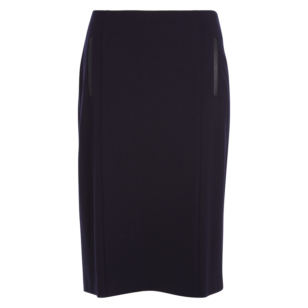 Ponte Pencil Skirt With Faux Leather Trim - pattern: plain; style: pencil; waist: mid/regular rise; predominant colour: black; occasions: evening; length: on the knee; fibres: viscose/rayon - stretch; fit: straight cut; pattern type: fabric; texture group: woven light midweight; season: a/w 2016; wardrobe: event