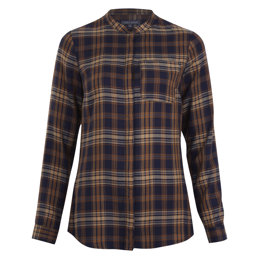 Collarless Check Shirt - neckline: mandarin; pattern: checked/gingham; style: shirt; secondary colour: white; predominant colour: navy; occasions: casual; length: standard; fibres: viscose/rayon - 100%; fit: body skimming; sleeve length: long sleeve; sleeve style: standard; pattern type: fabric; pattern size: light/subtle; texture group: jersey - stretchy/drapey; multicoloured: multicoloured; season: a/w 2016; wardrobe: highlight