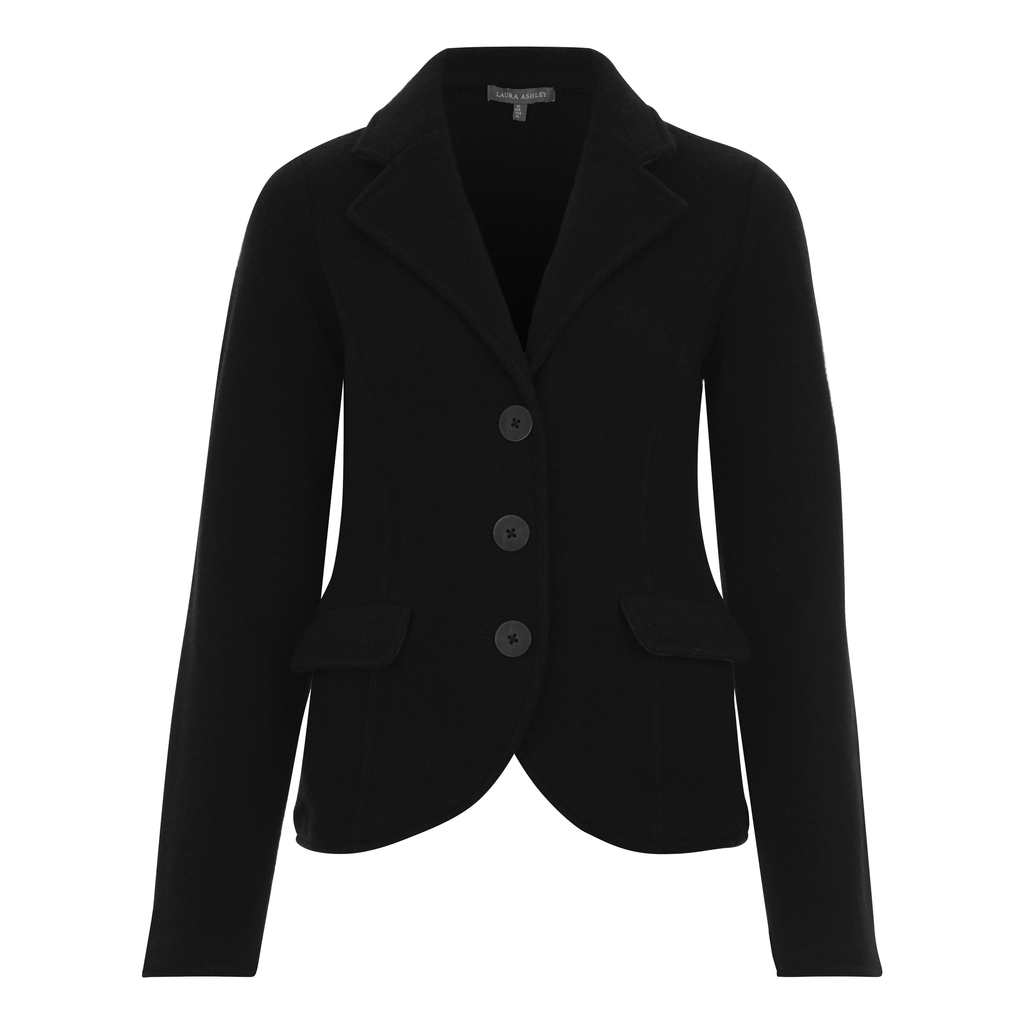 Boiled Wool Blazer Style Cardigan - pattern: plain; neckline: shawl; predominant colour: black; occasions: casual, work, creative work; length: standard; style: standard; fibres: wool - 100%; fit: slim fit; sleeve length: long sleeve; sleeve style: standard; texture group: knits/crochet; pattern type: knitted - fine stitch; wardrobe: basic; season: a/w 2016
