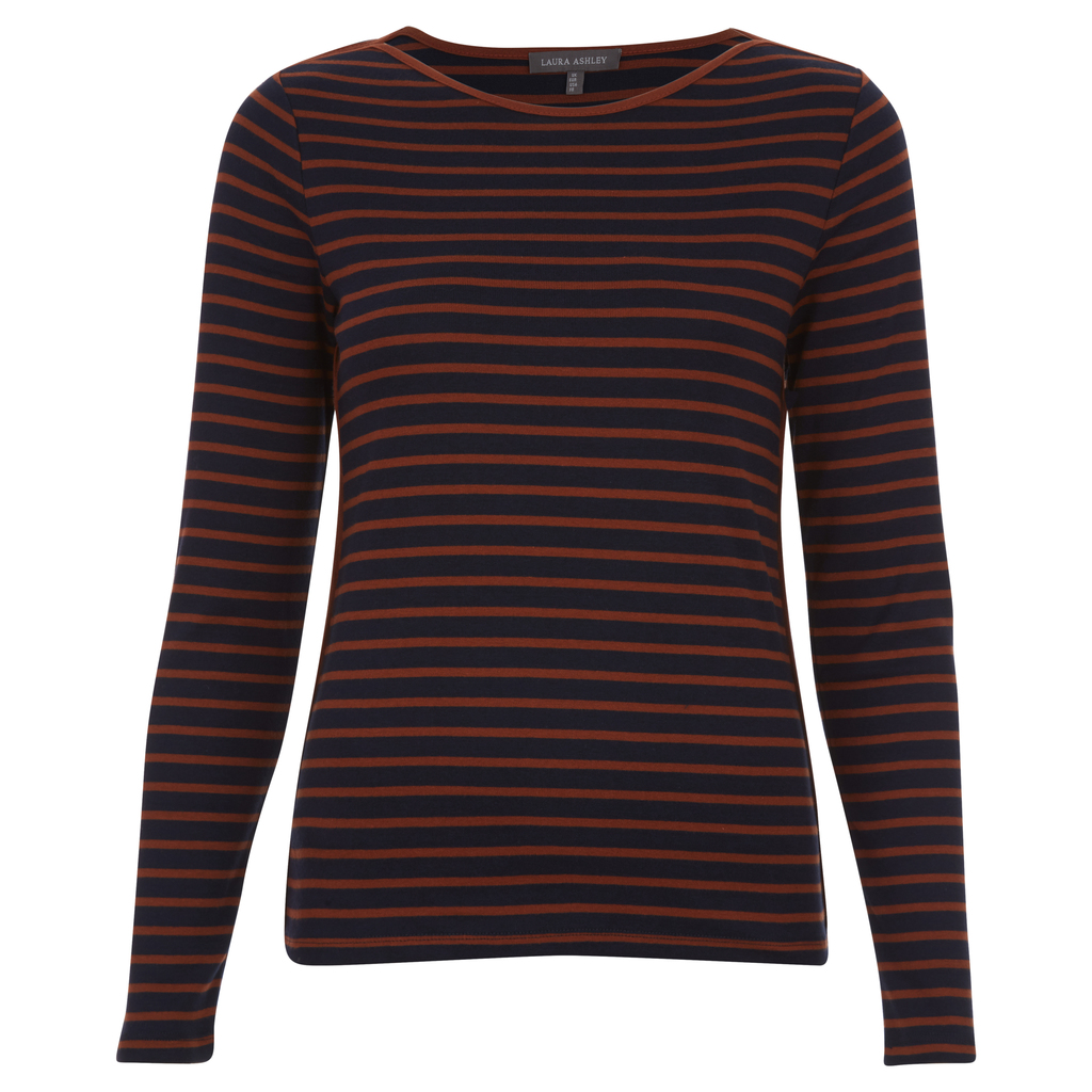 Stripe Crew Neck Top - pattern: horizontal stripes; predominant colour: navy; secondary colour: tan; occasions: casual; length: standard; style: top; fibres: cotton - 100%; fit: body skimming; neckline: crew; sleeve length: long sleeve; sleeve style: standard; pattern type: fabric; texture group: jersey - stretchy/drapey; multicoloured: multicoloured; season: a/w 2016; wardrobe: highlight