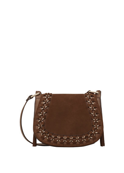 Appliqué Leather Bag - predominant colour: chocolate brown; occasions: casual; type of pattern: standard; style: messenger; length: across body/long; size: small; material: leather; pattern: plain; finish: plain; embellishment: chain/metal; season: a/w 2016; wardrobe: highlight
