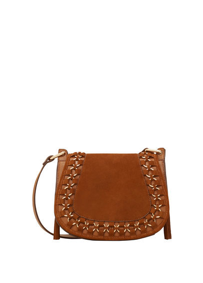 Appliqué Leather Bag - predominant colour: tan; occasions: casual, creative work; type of pattern: standard; style: saddle; length: across body/long; size: standard; material: faux leather; pattern: plain; finish: plain; season: a/w 2016; wardrobe: highlight