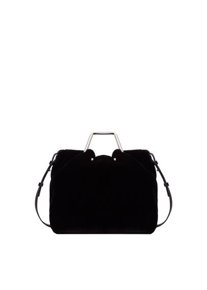 Crossed Faux Fur Bag - predominant colour: black; occasions: casual, work, creative work; type of pattern: standard; style: tote; length: handle; size: standard; material: faux fur; pattern: plain; finish: plain; season: a/w 2016