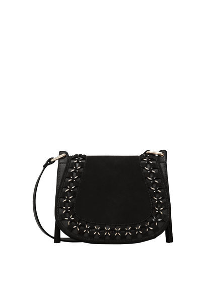 Appliqué Leather Bag - predominant colour: black; occasions: casual; type of pattern: standard; style: messenger; length: across body/long; size: small; material: leather; pattern: plain; finish: plain; wardrobe: basic; season: a/w 2016