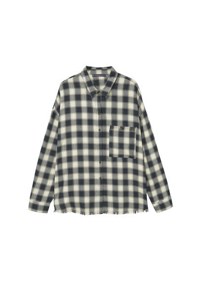 Check Cotton Shirt - neckline: shirt collar/peter pan/zip with opening; pattern: checked/gingham; length: below the bottom; style: shirt; bust detail: pocket detail at bust; predominant colour: black; occasions: casual, creative work; fibres: cotton - 100%; fit: loose; sleeve length: long sleeve; sleeve style: standard; texture group: cotton feel fabrics; pattern type: fabric; pattern size: big & busy (top); season: a/w 2016
