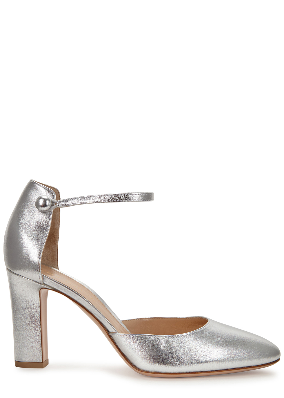 Silver Leather Pumps - predominant colour: silver; occasions: evening; material: leather; heel height: high; ankle detail: ankle strap; heel: block; toe: round toe; style: courts; finish: metallic; pattern: plain; season: a/w 2016; wardrobe: event
