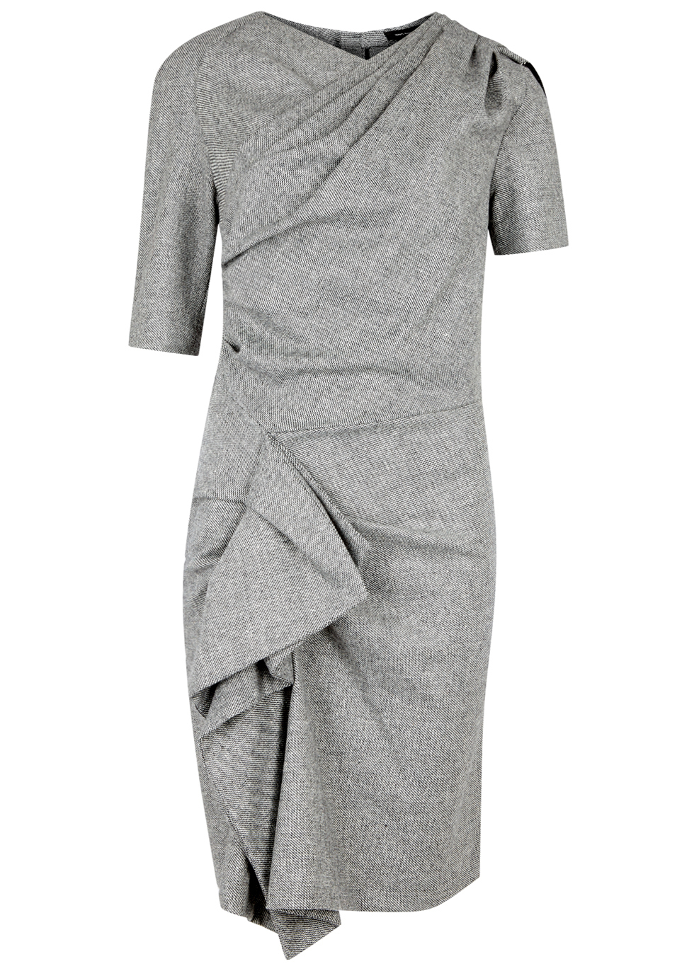 Kingsley Grey Draped Tweed Dress - style: shift; neckline: v-neck; fit: tailored/fitted; pattern: plain; predominant colour: mid grey; occasions: evening, work; length: just above the knee; fibres: polyester/polyamide - stretch; hip detail: adds bulk at the hips; sleeve length: short sleeve; sleeve style: standard; pattern type: fabric; texture group: tweed - light/midweight; season: a/w 2016; wardrobe: highlight