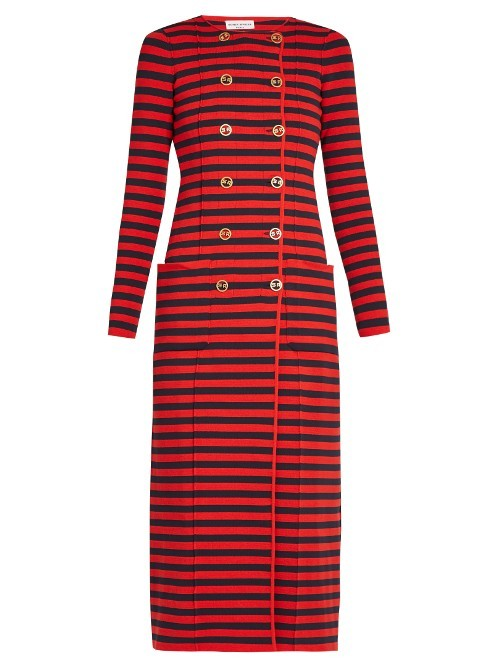 Double Breasted Striped Knit Cardigan Coat - neckline: round neck; pattern: horizontal stripes; length: below the knee; predominant colour: true red; secondary colour: black; occasions: casual, creative work; style: standard; fibres: polyester/polyamide - mix; fit: slim fit; sleeve length: long sleeve; sleeve style: standard; pattern type: fabric; pattern size: standard; texture group: jersey - stretchy/drapey; season: a/w 2016; wardrobe: highlight
