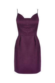 Satin Tulip Cami Dress - sleeve style: spaghetti straps; pattern: plain; style: tulip; predominant colour: aubergine; occasions: evening; length: just above the knee; fit: body skimming; fibres: polyester/polyamide - 100%; sleeve length: sleeveless; texture group: structured shiny - satin/tafetta/silk etc.; neckline: medium square neck; pattern type: fabric; season: a/w 2016; wardrobe: event