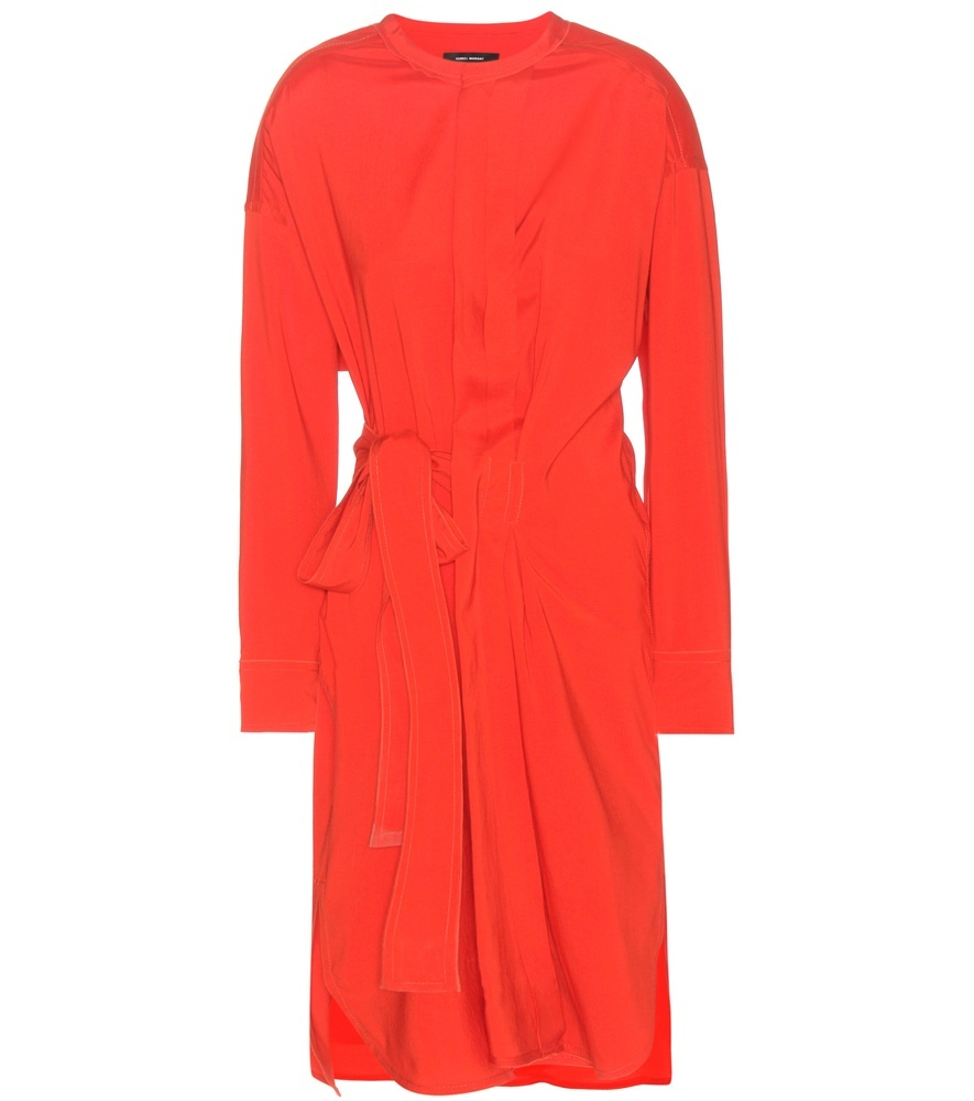 Dias Silk And Wool Blend Wrap Style Dress - style: shift; pattern: plain; waist detail: belted waist/tie at waist/drawstring; predominant colour: bright orange; occasions: evening; length: on the knee; fit: body skimming; neckline: collarstand; fibres: silk - mix; sleeve length: long sleeve; sleeve style: standard; texture group: structured shiny - satin/tafetta/silk etc.; pattern type: fabric; season: a/w 2016; wardrobe: event