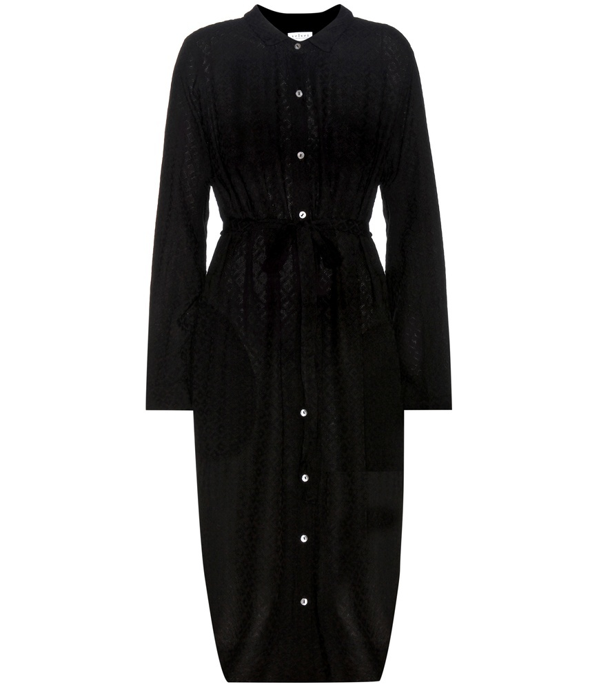 Shirt Dress - style: shirt; length: calf length; pattern: plain; predominant colour: black; occasions: evening; fit: body skimming; neckline: collarstand; fibres: viscose/rayon - 100%; sleeve length: long sleeve; sleeve style: standard; pattern type: fabric; texture group: jersey - stretchy/drapey; season: a/w 2016; wardrobe: event