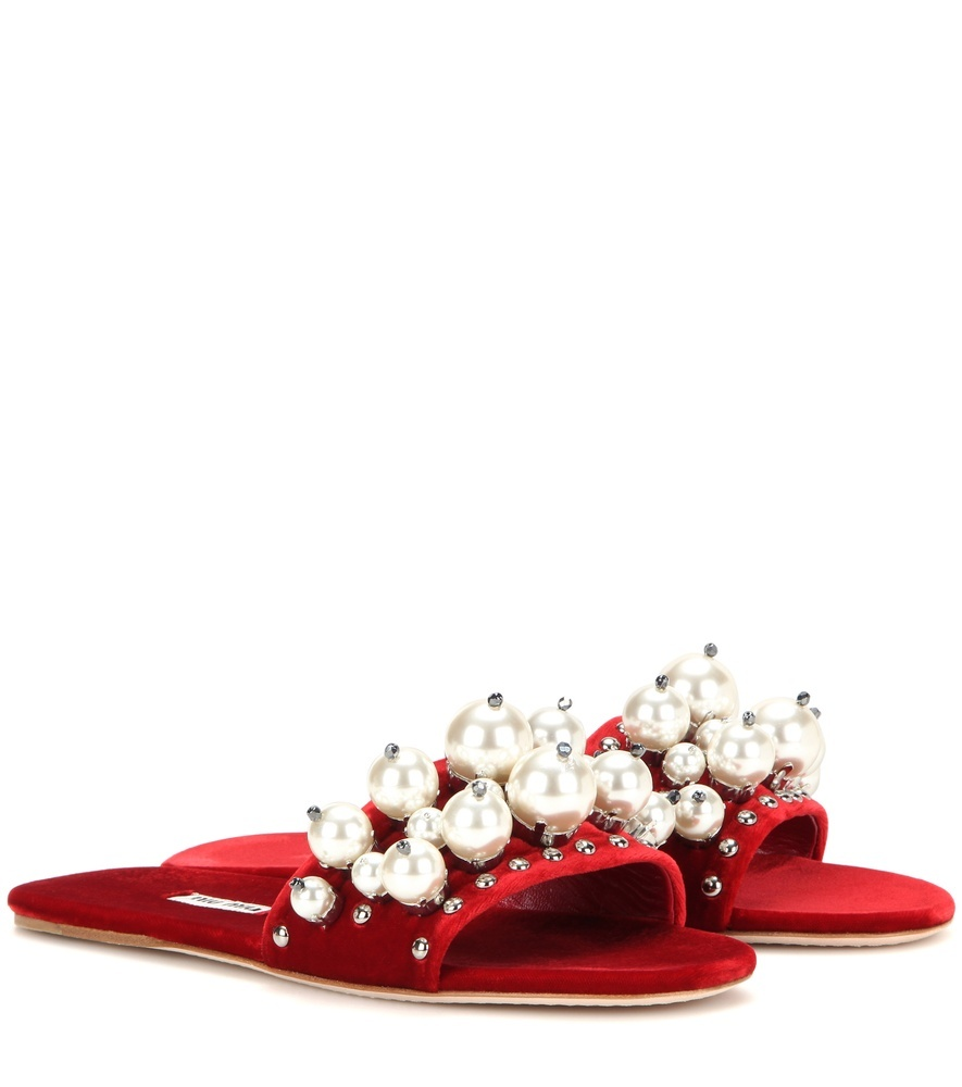 Velvet Embellished Slip On Sandals - secondary colour: ivory/cream; predominant colour: true red; material: velvet; heel height: flat; embellishment: jewels/stone; heel: block; toe: open toe/peeptoe; style: flip flops; occasions: holiday; finish: plain; pattern: colourblock; season: a/w 2016; wardrobe: highlight; trends: velvet