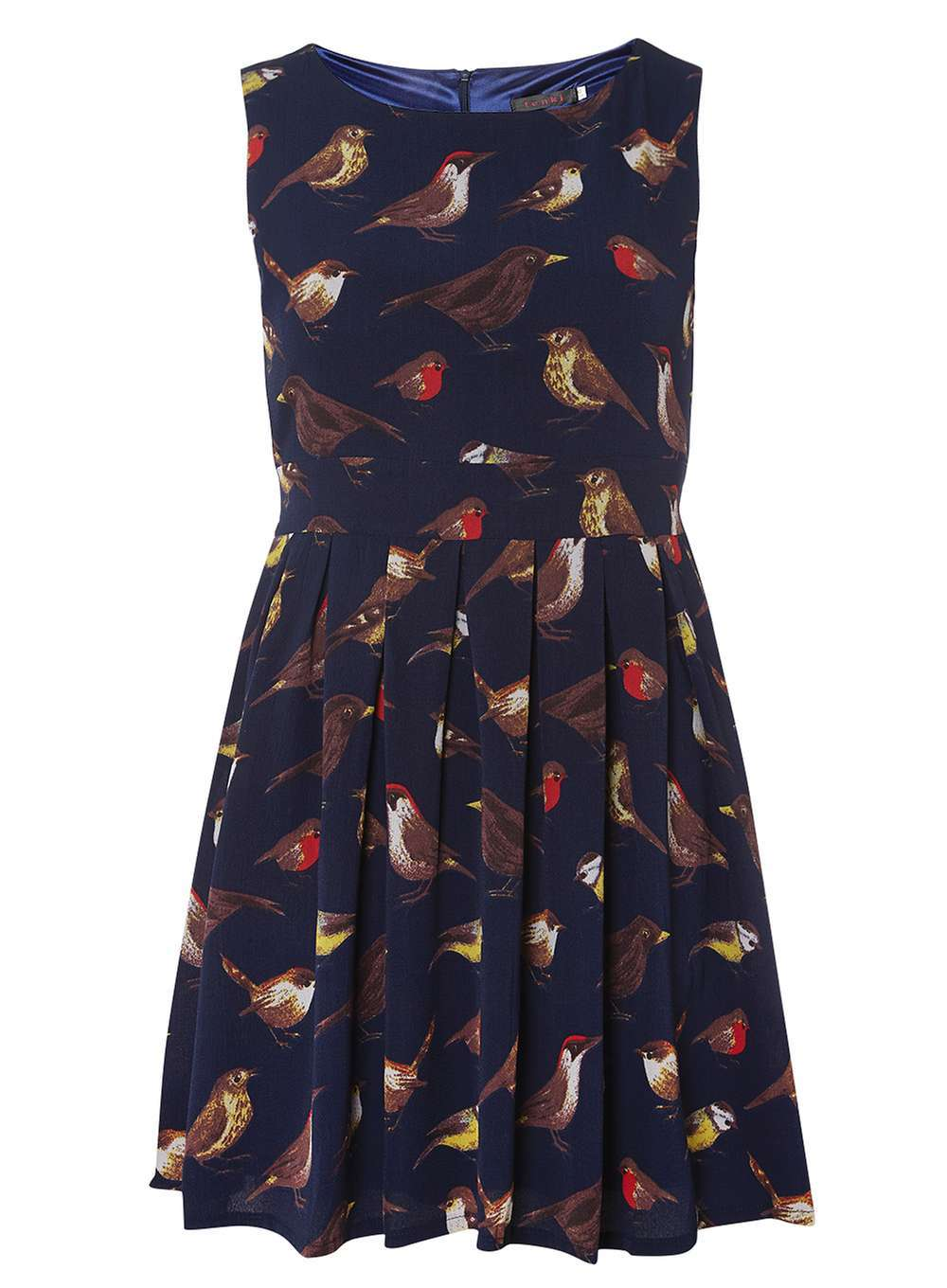 Womens **Tenki Bird Print Dress Blue - length: mid thigh; neckline: round neck; sleeve style: sleeveless; predominant colour: navy; secondary colour: chocolate brown; occasions: casual; fit: fitted at waist & bust; style: fit & flare; fibres: polyester/polyamide - 100%; hip detail: subtle/flattering hip detail; sleeve length: sleeveless; pattern type: fabric; pattern: patterned/print; texture group: jersey - stretchy/drapey; multicoloured: multicoloured; season: a/w 2016; wardrobe: highlight