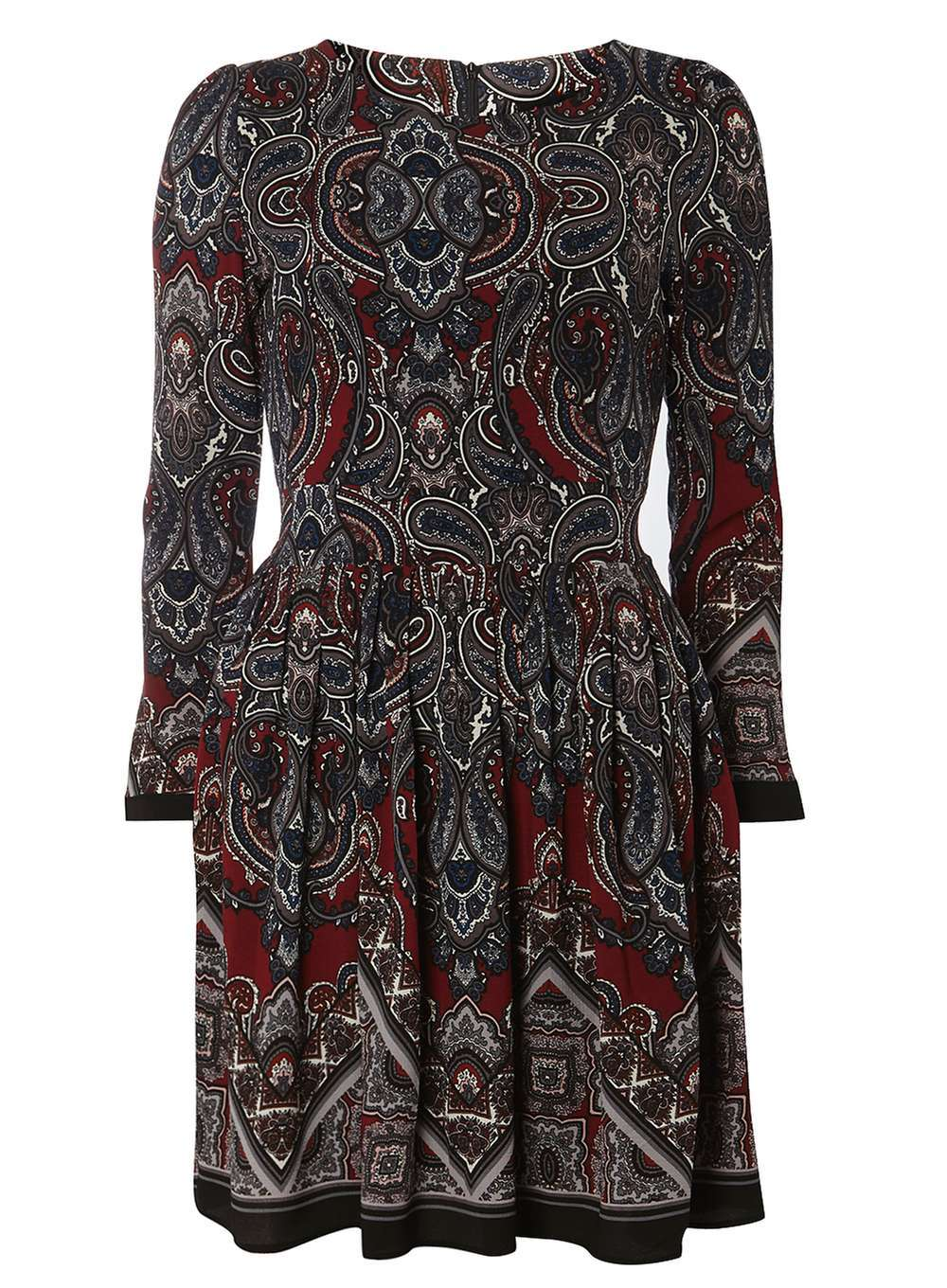 Womens **Tenki Maroon Paisley Print Dress Brown - length: mid thigh; secondary colour: burgundy; predominant colour: charcoal; occasions: casual; fit: fitted at waist & bust; style: fit & flare; fibres: polyester/polyamide - 100%; neckline: crew; sleeve length: long sleeve; sleeve style: standard; pattern type: fabric; pattern: patterned/print; texture group: jersey - stretchy/drapey; multicoloured: multicoloured; season: a/w 2016; wardrobe: highlight