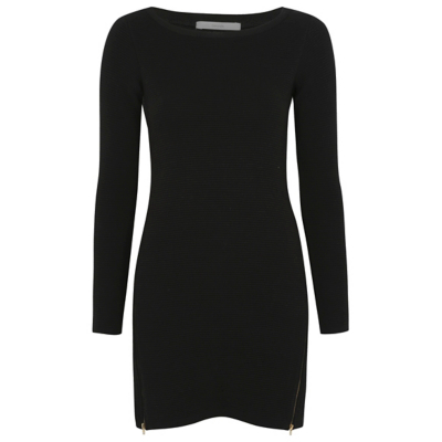 Ripple Stitch Tunic Dress Black - style: shift; length: mini; pattern: plain; predominant colour: black; occasions: evening; fit: body skimming; neckline: crew; sleeve length: long sleeve; sleeve style: standard; pattern type: fabric; texture group: jersey - stretchy/drapey; fibres: viscose/rayon - mix; season: a/w 2016; wardrobe: event