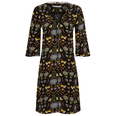 Tassel Trim Floral Print Dress Black - style: shift; neckline: v-neck; secondary colour: silver; predominant colour: black; occasions: casual; length: on the knee; fit: body skimming; fibres: viscose/rayon - 100%; sleeve length: 3/4 length; sleeve style: standard; pattern type: fabric; pattern size: big & busy; pattern: florals; texture group: jersey - stretchy/drapey; multicoloured: multicoloured; season: a/w 2016; wardrobe: highlight