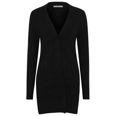 Ribbed Maxi Cardigan Black - neckline: low v-neck; pattern: plain; length: below the bottom; predominant colour: black; occasions: casual, creative work; style: standard; fibres: acrylic - 100%; fit: loose; sleeve length: long sleeve; sleeve style: standard; texture group: knits/crochet; pattern type: knitted - fine stitch; season: a/w 2016