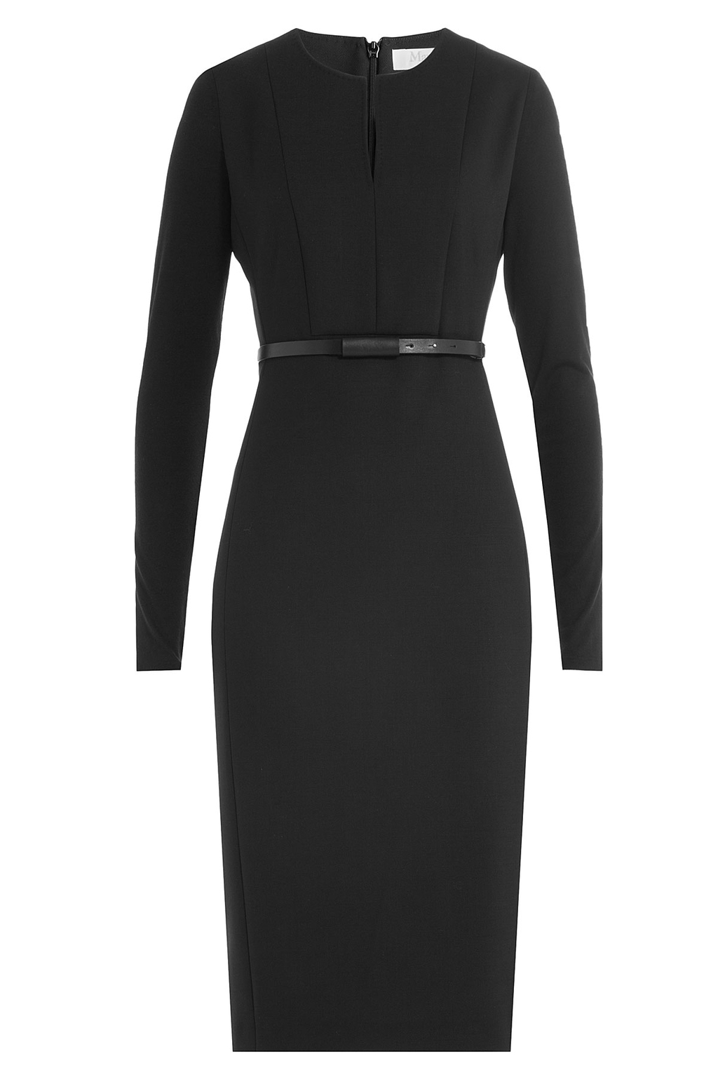 Virgin Wool Dress With Belt - style: shift; neckline: v-neck; fit: tailored/fitted; pattern: plain; predominant colour: black; occasions: evening; length: on the knee; fibres: wool - stretch; sleeve length: long sleeve; sleeve style: standard; pattern type: fabric; texture group: woven light midweight; season: a/w 2016; wardrobe: event