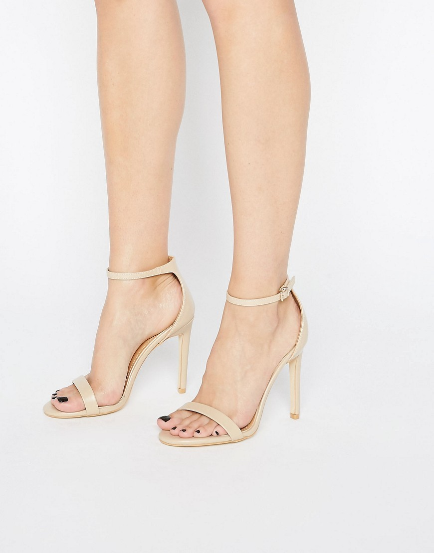 Avril Beige Barely There Heeled Sandals Beige - predominant colour: nude; occasions: evening, occasion, holiday; material: faux leather; ankle detail: ankle strap; heel: stiletto; toe: open toe/peeptoe; style: strappy; finish: plain; pattern: plain; heel height: very high; season: a/w 2016