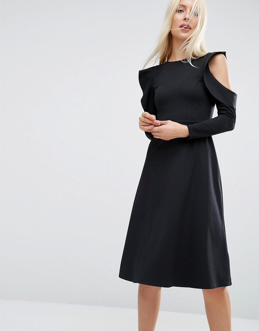 Midi Skater Dress With Cold Shoulder And Frill Sleeve Detail Black - length: below the knee; pattern: plain; predominant colour: black; occasions: evening; fit: fitted at waist & bust; style: fit & flare; fibres: polyester/polyamide - stretch; neckline: crew; shoulder detail: cut out shoulder; sleeve length: long sleeve; sleeve style: standard; pattern type: fabric; texture group: jersey - stretchy/drapey; season: a/w 2016; wardrobe: event