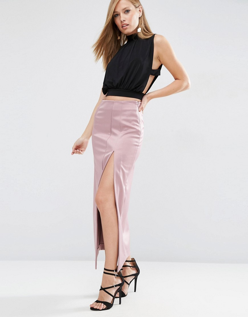 Premium Bonded Satin Maxi Skirt Mink - pattern: plain; length: ankle length; fit: tailored/fitted; waist: high rise; predominant colour: blush; occasions: evening, occasion; style: maxi skirt; fibres: polyester/polyamide - 100%; hip detail: slits at hip; texture group: structured shiny - satin/tafetta/silk etc.; pattern type: fabric; season: a/w 2016; wardrobe: event