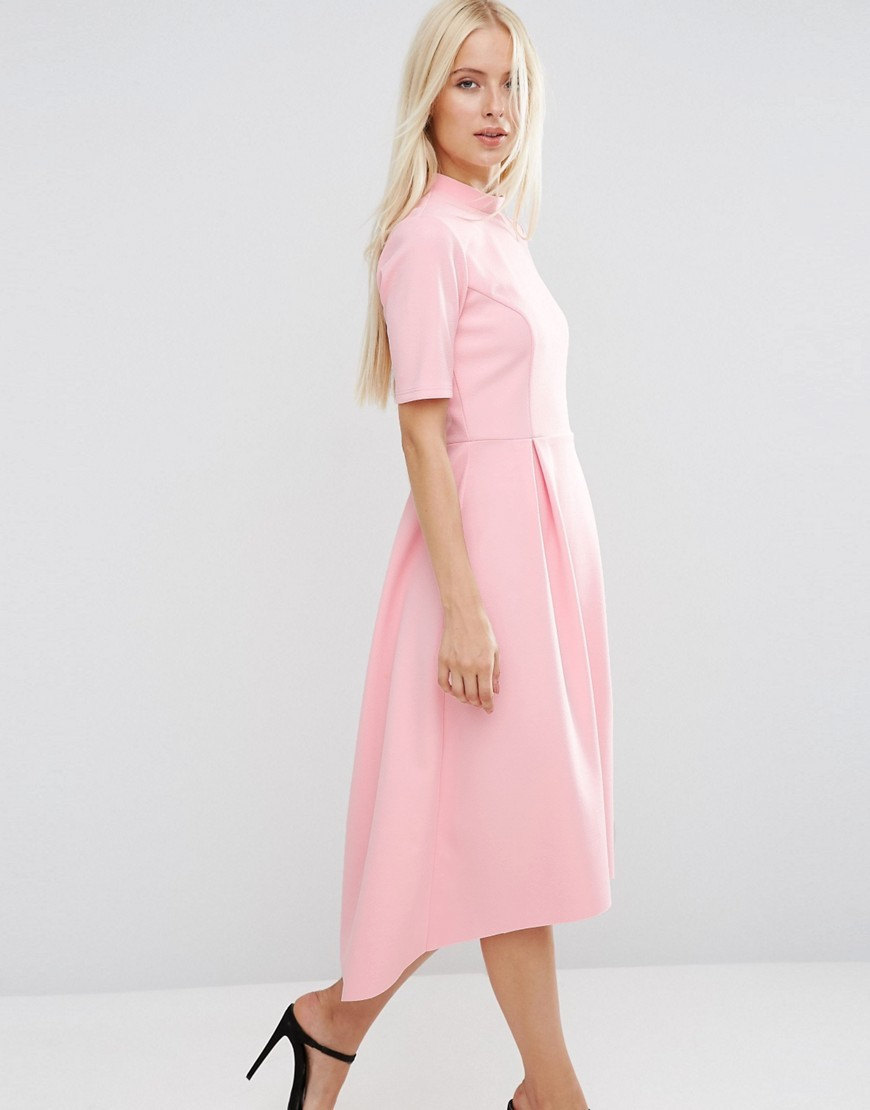 Midi Bonded Dress With Full Skirt And Dipped Hem Sugar Pink - length: calf length; pattern: plain; predominant colour: pink; occasions: evening; fit: fitted at waist & bust; style: fit & flare; fibres: polyester/polyamide - stretch; neckline: crew; sleeve length: half sleeve; sleeve style: standard; pattern type: fabric; pattern size: standard; texture group: woven light midweight; season: a/w 2016; wardrobe: event