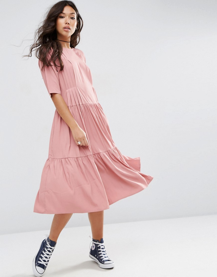 Pleat Front Smock City Maxi Dress Pink - style: a-line; length: calf length; pattern: plain; predominant colour: pink; occasions: casual; fit: soft a-line; fibres: polyester/polyamide - 100%; neckline: crew; sleeve length: half sleeve; sleeve style: standard; pattern type: fabric; texture group: jersey - stretchy/drapey; season: a/w 2016; wardrobe: highlight