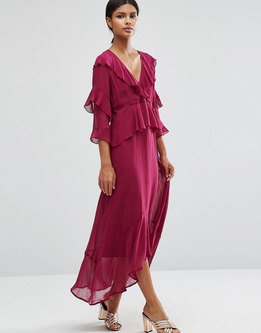 Ruffle Front Plunge Neck Maxi Dress Berry - length: calf length; neckline: low v-neck; pattern: plain; style: maxi dress; waist detail: peplum waist detail; occasions: evening; fit: body skimming; fibres: viscose/rayon - 100%; sleeve length: 3/4 length; sleeve style: standard; texture group: sheer fabrics/chiffon/organza etc.; bust detail: tiers/frills/bulky drapes/pleats; pattern type: fabric; predominant colour: raspberry; season: a/w 2016; wardrobe: event