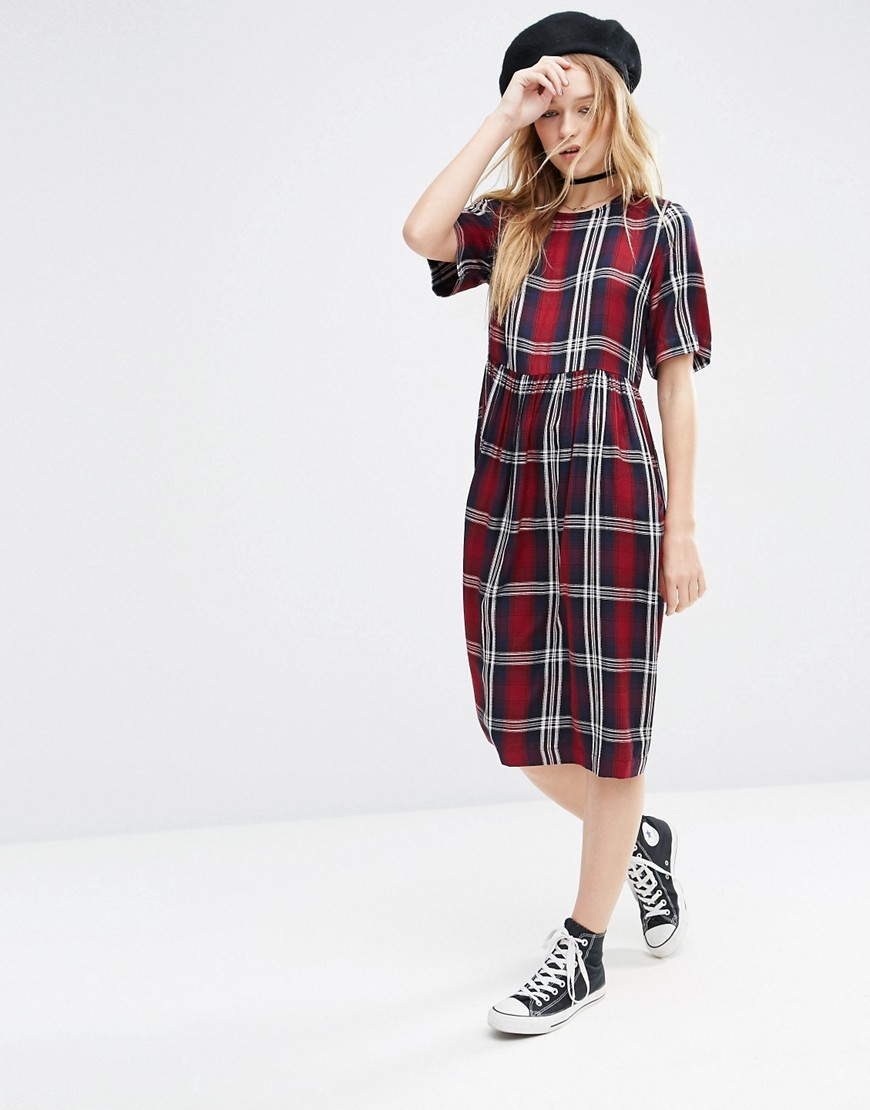 Short Sleeve Midi Smock Dress In Check Multi - style: smock; length: below the knee; fit: loose; pattern: checked/gingham; predominant colour: true red; secondary colour: light grey; occasions: casual; fibres: viscose/rayon - 100%; neckline: crew; sleeve length: short sleeve; sleeve style: standard; pattern type: fabric; texture group: jersey - stretchy/drapey; multicoloured: multicoloured; season: a/w 2016