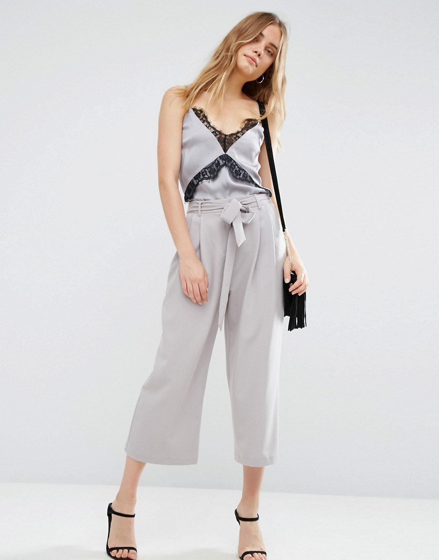 Tailored Culotte With Tie Waist Silver - pattern: plain; waist detail: belted waist/tie at waist/drawstring; waist: mid/regular rise; predominant colour: light grey; occasions: evening; length: calf length; fibres: polyester/polyamide - stretch; fit: wide leg; pattern type: fabric; texture group: jersey - stretchy/drapey; style: standard; season: a/w 2016; wardrobe: event
