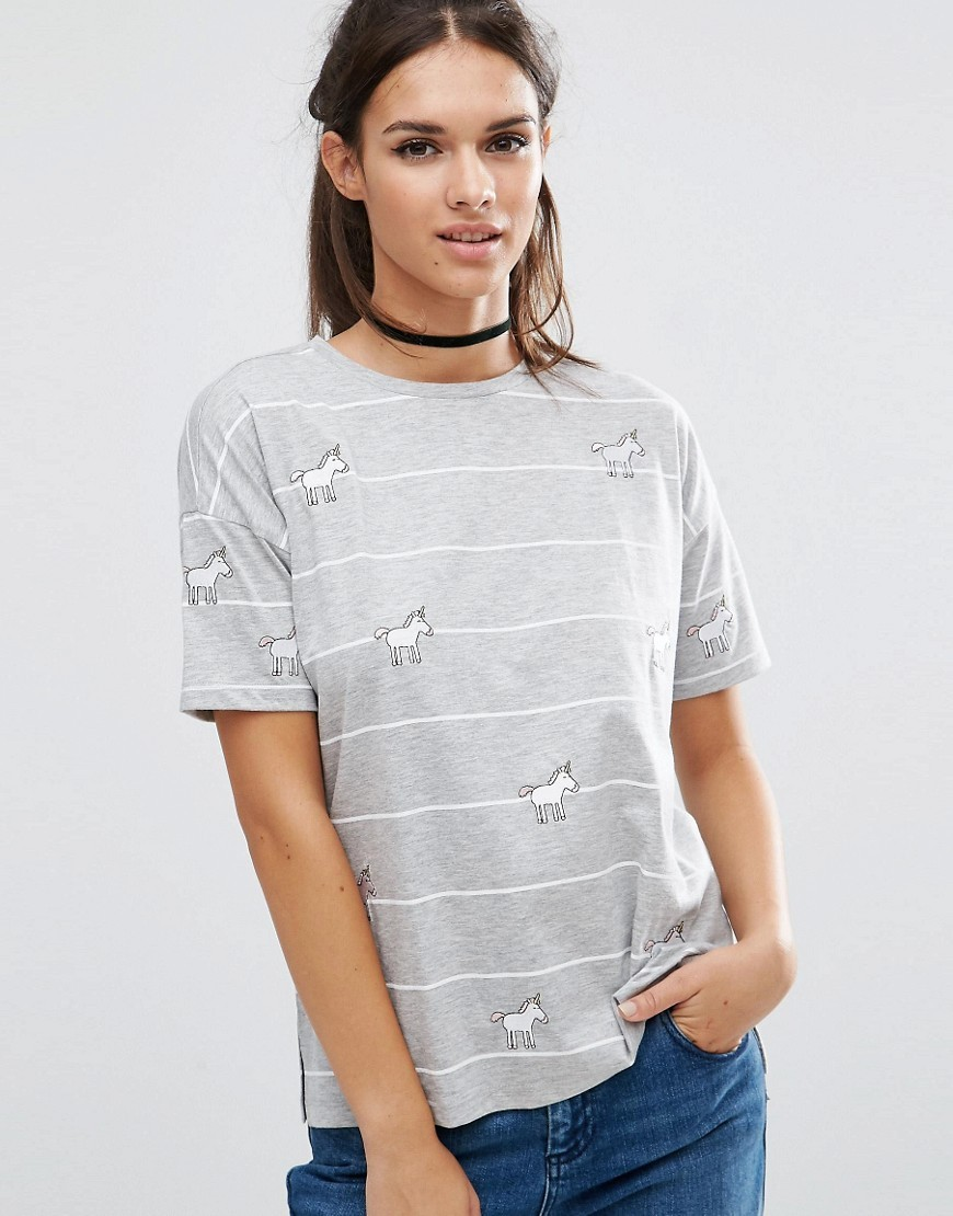 Top With Unicorn Badges In Stripe Multi - secondary colour: white; predominant colour: light grey; occasions: casual; length: standard; style: top; fibres: polyester/polyamide - mix; fit: body skimming; neckline: crew; sleeve length: short sleeve; sleeve style: standard; pattern type: fabric; pattern size: standard; pattern: patterned/print; texture group: jersey - stretchy/drapey; multicoloured: multicoloured; season: a/w 2016; wardrobe: highlight
