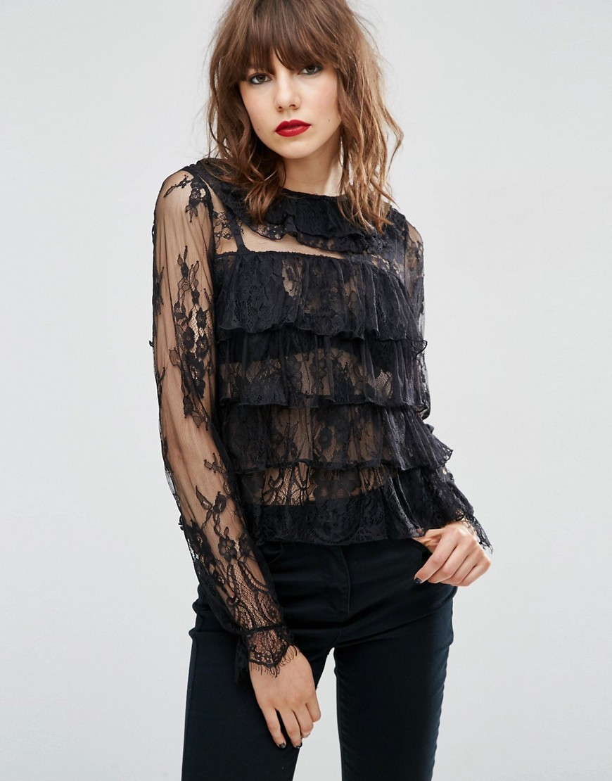 Top With Ruffle Collar In Lace Black - pattern: plain; predominant colour: black; occasions: evening; length: standard; style: top; fibres: polyester/polyamide - 100%; fit: body skimming; neckline: crew; sleeve length: long sleeve; sleeve style: standard; texture group: lace; bust detail: tiers/frills/bulky drapes/pleats; pattern type: fabric; shoulder detail: sheer at shoulder; season: a/w 2016