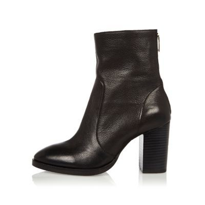 Womens Black Leather Heeled Ankle Boots - predominant colour: black; occasions: casual, creative work; material: leather; heel height: mid; heel: block; toe: round toe; boot length: ankle boot; style: standard; finish: plain; pattern: plain; shoe detail: platform; wardrobe: basic; season: a/w 2016