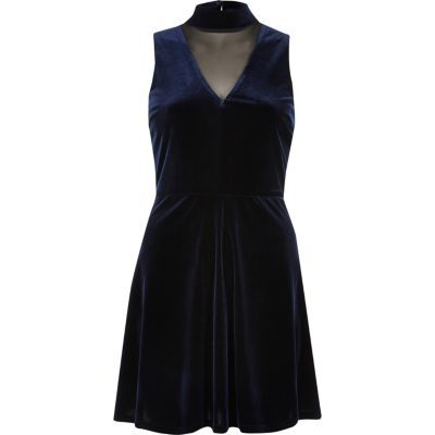 Womens Navy Velvet Choker Mesh Skater Dress - length: mid thigh; neckline: v-neck; pattern: plain; sleeve style: sleeveless; predominant colour: navy; occasions: evening; fit: fitted at waist & bust; style: fit & flare; fibres: polyester/polyamide - stretch; sleeve length: sleeveless; pattern type: fabric; texture group: velvet/fabrics with pile; season: a/w 2016; wardrobe: event
