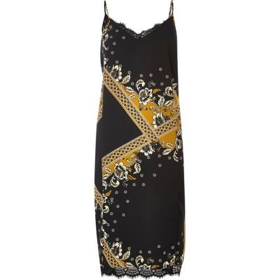 Womens Black Print Lace Midi Slip Dress - length: calf length; neckline: v-neck; sleeve style: sleeveless; secondary colour: mustard; predominant colour: black; occasions: evening; fit: body skimming; style: slip dress; fibres: polyester/polyamide - 100%; sleeve length: sleeveless; texture group: sheer fabrics/chiffon/organza etc.; pattern type: fabric; pattern: patterned/print; embellishment: lace; multicoloured: multicoloured; season: a/w 2016; wardrobe: event; embellishment location: bust, hem