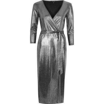 Womens Silver Plunge Wrap Dress - style: faux wrap/wrap; neckline: low v-neck; pattern: plain; waist detail: belted waist/tie at waist/drawstring; predominant colour: silver; occasions: evening; length: on the knee; fit: body skimming; fibres: polyester/polyamide - stretch; sleeve length: long sleeve; sleeve style: standard; pattern type: fabric; texture group: jersey - stretchy/drapey; season: a/w 2016; wardrobe: event