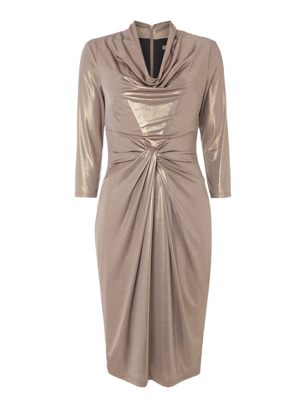 Cowl Neck Long Sleeve Metallic Jersey Dress, Gold - style: shift; neckline: cowl/draped neck; pattern: plain; predominant colour: champagne; occasions: evening; length: on the knee; fit: body skimming; fibres: polyester/polyamide - stretch; sleeve length: 3/4 length; sleeve style: standard; pattern type: fabric; texture group: jersey - stretchy/drapey; season: a/w 2016; wardrobe: event