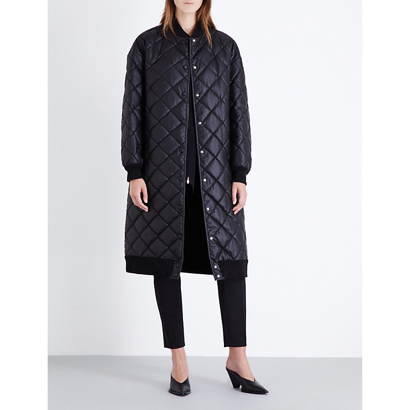 Quilted Faux Leather Coat, Women's, Black - pattern: plain; collar: round collar/collarless; style: quilted; length: on the knee; predominant colour: black; occasions: casual; fit: straight cut (boxy); fibres: nylon - 100%; sleeve length: long sleeve; sleeve style: standard; texture group: leather; collar break: high; pattern type: fabric; embellishment: quilted; season: a/w 2016; wardrobe: highlight